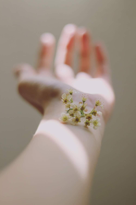 kwiatek na rece